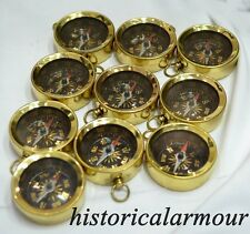 Brass Sundial Compass Old Vintage Antique Pocket Style Necklace Pendant