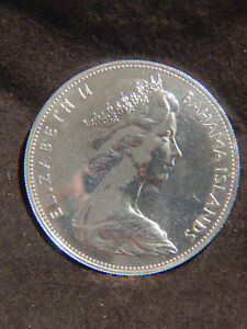 Bahamas 1969 $5 STERLING SILVER Coin 925/1000 Brillaint & Big Stack Or Collect