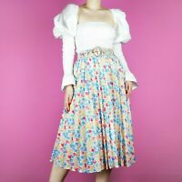 VINTAGE Floral Pleat Blue Yellow Pattern White Midi 80s Pastel Skirt 10 12 S M
