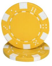 100 Yellow Striped Dice 11.5g Clay Poker Chips New - Buy 3, Get 1 Free