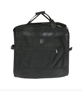 Vtg Hartmann Luggage Nylon Leather Trim Hanging Folding Garment Suit Bag Black