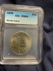1936 Rhode Island Commemorative 50c MS64 White