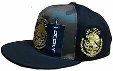 JALISCO  MEXICO HAT CAMO BLACK  LOGO FEDERAL MESH TRUCKER SNAP BACK FLAT BUILD