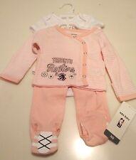 Toronto Raptors Little Girl Pink Bodysuit Top Pants 3 Piece Newborn Set 6 Months