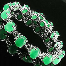 Emerald Green Jade Beads White Gold Plated Crystal Link Clasp Bracelet
