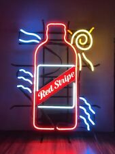 Red Stripe Beer bottle with sun and stripe neon light sign - Vintage