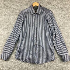 Hubog Boss Mens Button Up Shirt Size L Multicoloured Striped Long Sleeve 1.20
