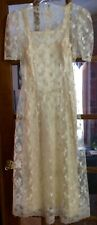 Vintage lace dress with separate underliner, ivory in color