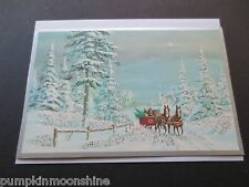 #I 900- Unused Mid Century Glitter Horse Drawn Red Wagon Xmas Greeting Card