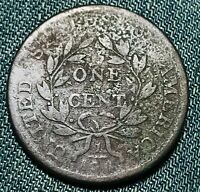 1802 Draped Bust Large Cent 1C STEMS Higher Grade Good Det US Copper Coin CC4686