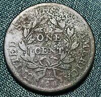 1802 Draped Bust Large Cent 1C STEMS Higher Grade Good Det US Copper Coin CC4686