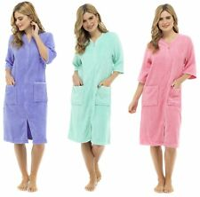 Womens 100% Cotton Zip Robe Dressing Gown Terry Towelling Shower Wrap Beach Pool