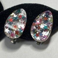 VINTAGE MCM Rainbow Stars Gold CONFETTI LUCITE CLIP Earrings Teardrop FUN!