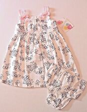 Jessica Ann White & Black Floral Dress with Pink Trim Infant Baby Girl 24 Months