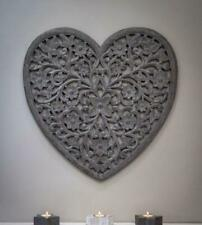 Beautiful Grey Wooden Filigree Heart Wall Panel