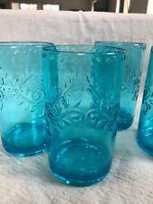 Set Of 4 Ashland Acrylic Drinking Glasses. Turquoise NIB 18 Oz.