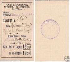 # ALBANO LAZIALE - TESSERA 1933-34 UNIONE NAZ. UFFICIALI IN CONGEDO