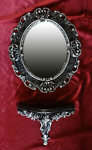 Wall Mirror + Console Oval Wall Bracket Set Baroque Antique 44x38 Black Silver 1