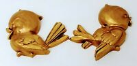 Vintage MCM Universal Statuary Birds Wall Decor Art Gold Plastic 1974 6-1/2""