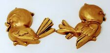 "Vintage MCM Universal Statuary Birds Wall Decor Art Gold Plastic 1974 6-1/2"""