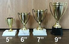 "CUP TROPHY SET - 4 TOTAL - 5"", 6"", 7"", 9"" TROPHIES - FREE ENGRAVING"