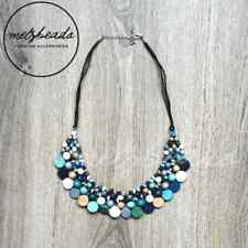 Wooden Tribal Bead Beaded Necklace Women Statement Necklace Blue Green Bib Gift
