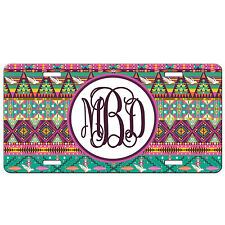 Personalized Monogrammed Custom License Plate Auto Car Tag Tribal Aztec Pink