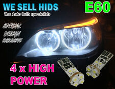 4 X BMW E60 XENON WHITE ANGEL EYE  LED CANBUS 501 5 series E61 Rings  UK SELLER
