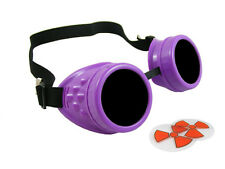NEON PURPLE CYBER GOGGLES STEAMPUNK WELDING GOTH COSPLAY