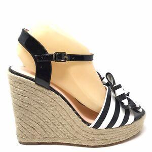 Kate Spade Darya Womens Size 9 Espadrille Wedge Sandals Black White Striped Bow
