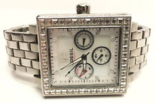 Fossil Ladies Crystal Studded Wrist Watch Silver Tone BQ-9366