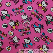 BonEful Fabric FQ Cotton Quilt Pink HELLO KITTY Cat Airplane Helicopter Girl Bow