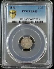 1870 Proof Three Cent Piece, silver composition, certified PR 65 by PCGS!