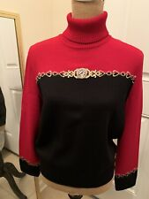 Vtg St. John Sport by Marie Gray Women's Red Turtleneck Sweater Small