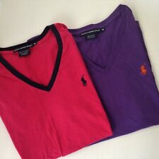 TWO Ralph Lauren Sport V-NECK TOPS M Womens MEDIUM Solid Purple & Pink/Navy