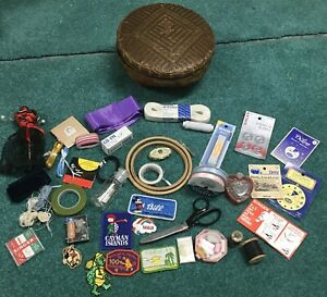 "Vintage 10"" Wicker Sewing Kit Round Basket ~ STUFFED FULL ~ Wiss Pinking Shears"