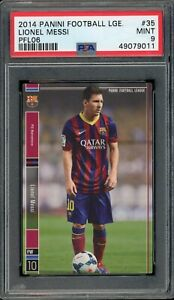 2014 PANINI FOOTBALL LEAGUE 35 LIONEL MESSI PFL06 BARCELONA NO HIGHER POP PSA 9