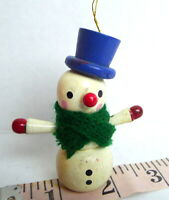 Christmas Snowman Wooden Ornament 1984 vintage