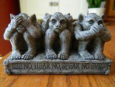 1996 Stone Critters - Gargoyles See No Hear No Speak No Evil Stone Figurine