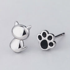 Women's Lovely Cartoon Cat And Paw Creative Asymmetric Stud Earrings Z