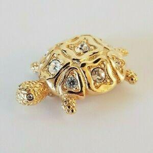 SWAROVSKI Crystal Gold Tone Sparkling TURTLE PIN BROOCH Swan Logo