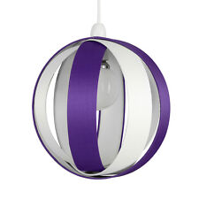 Modern Round Purple & Cream Fabric Ceiling Light Pendant Lamp Shade Lampshade