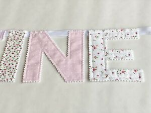 Personalised Girl Fabric Bunting Name Baby Pink Flowers Nursery £2.20 PER LETTER