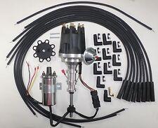 FORD Y Block 256-272-292-312 BLACK HEI Distributor +Chrome Coil+Spark Plug Wires