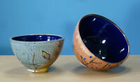 Decorative Bowl Set  Studio Pottery Bowls Centerpiece Ceramic Cobalt Shino Glaze