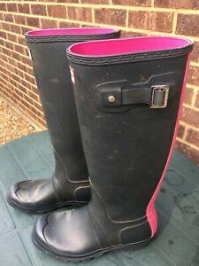 HUNTER Wellington Boots / Wellies Dark Blue + Pink Stripe & Lining - UK 5
