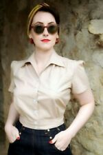 Freddies of Pinewood 1940s Fawn Work Blouse, size 12, 40s