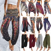 Womens Baggy Harem Pants Yoga Gym Hippie Boho Gypsy Loose Palazzo Trousers G65
