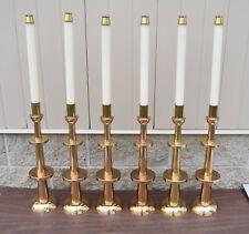 + Vintage Set of 6 Solid Bronze Altar Candlesticks + (CU#710) Church
