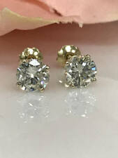 14k Yellow Gold Over Sterling 2.00 Ct  Round Diamond Stud Earrings Screw Back